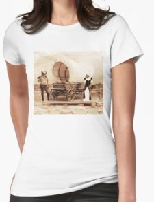 Old West Cowboy Cat and Saloon Kitty Womens Fitted T-Shirt
