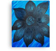 Black and Blue Flower in the Water by LindaGLarsenArt Canvas Print