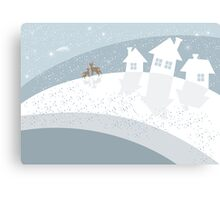 winter landscape with reindeers Canvas Print