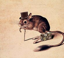 vintage little mouse with cane, suitcase by VintageFiori