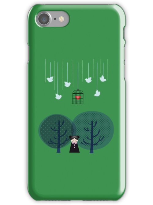 Vector Illustration in Jade Iphone Case by Voila and Black Ribbon