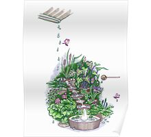 Flowform edible Station garden in Mauve Poster