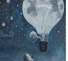 hot air balloon light bulb moon by Emojiames