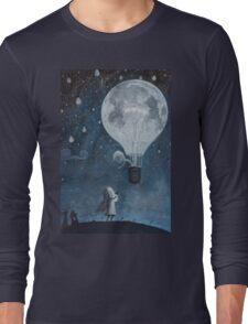 hot air balloon light bulb moon Long Sleeve T-Shirt