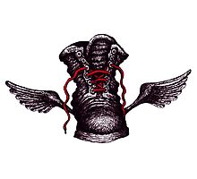 Flying Boot black and white pen ink drawing Photographic Print