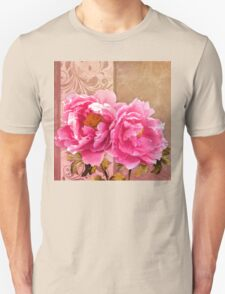Sunlit magenta pink peony flowers, floral art T-Shirt