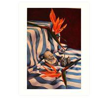 Orange Flowers and Blue Cloth Art Print