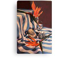 Orange Flowers and Blue Cloth Metal Print