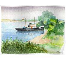 Tug On The River Maas in The Netherlands - Aquarel Poster