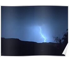 Lightning strikes in the blueness of the Drakensberg, South Africa Poster