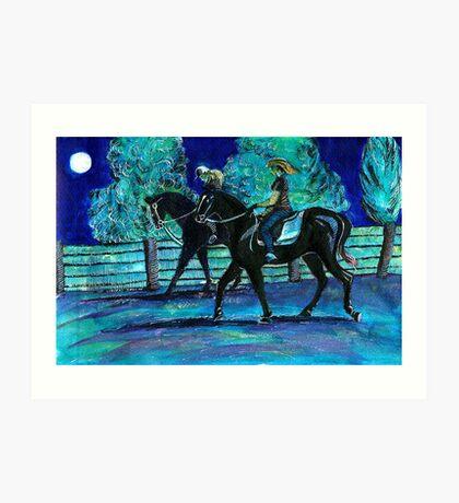 Riding Horses on a Full Moon Night Art Print