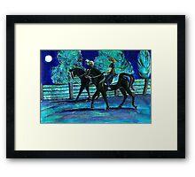 Riding Horses on a Full Moon Night Framed Print