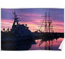 The Zebu Tall Ship at Sunset  Poster