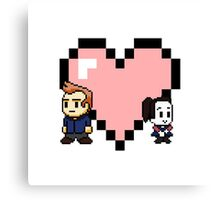 """""""Love in 8-bit"""": Jeff and Annie (style A) Canvas Print"""