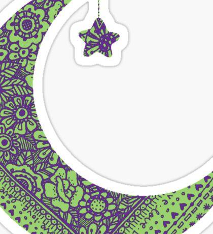 Purple Green Moon Sticker