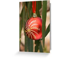Christmas decoration hanging in Eucalyptus leaves Greeting Card