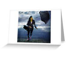 woman in the rain Greeting Card