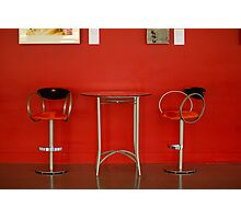 Red Table and Chairs Photographic Print