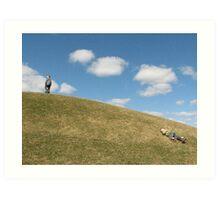 Blue sky ... Green grass ... boys. Art Print