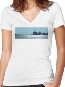 Panoramic View Of Downtown Detroit And Windsor Women's Fitted V-Neck T-Shirt