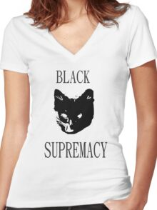 Black Cat Supremacy Women's Fitted V-Neck T-Shirt