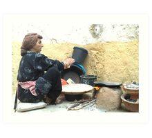 Berber woman making flatbread. Art Print