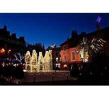 Carlisle Town Centre at Christmas Time Photographic Print