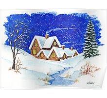 A Romantic Picture, Houses in The Snow - Aquarel Poster
