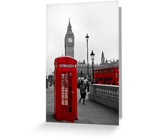 London Red Telephone box and Bus Greeting Card