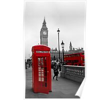 London Red Telephone box and Bus Poster