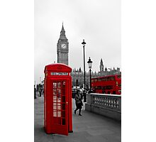 London Red Telephone box and Bus Photographic Print