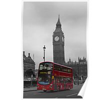 London red bus and Big Ben Poster