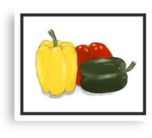 Three Perfect Peppers Watercolor Sketch Canvas Print