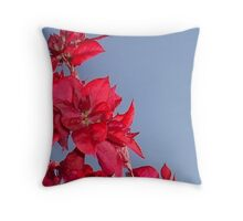 Pink Red Blooming Bougainvilleas Against A Blue Sky Throw Pillow