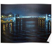 Suspension Bridge by night Poster