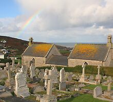 Barnoon Chapel & Rainbow, Saint Ives, Cornwall by JohnINPIX