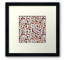 Squirrels in Fall Doodle Framed Print