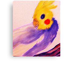 Charlie the cockatiel, in memory, watercolor Canvas Print