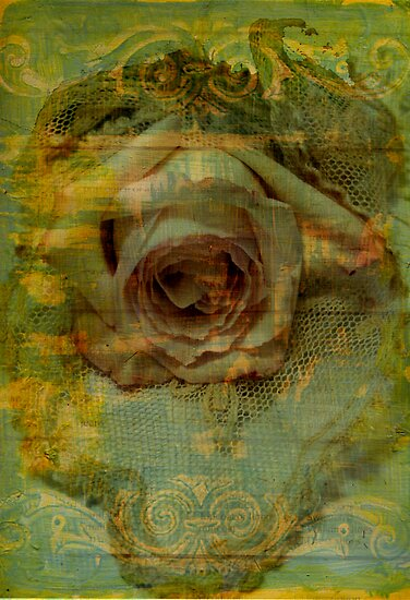 Rose in painted grunge setting with lace, photo manipulation. by Sandra Foster