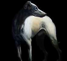 Whippet In Black by Anne Zoutsos