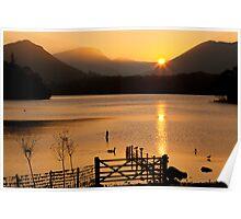 Sunset Over Derwent Lake, Keswick, Cumbria UK Poster