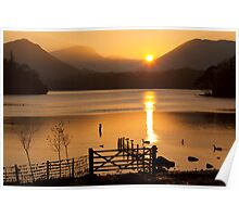 The Autumn Sun Sets on Derwent Lake, Keswick, Cumbria Poster