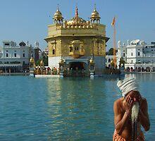 Pilgrim bathing, Golden Temple Amritsar by jphenfrey