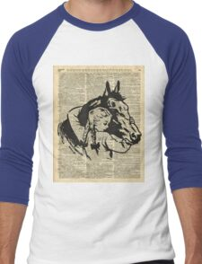 Girl With Horse Illustration over vintage dictionary page Men's Baseball ¾ T-Shirt