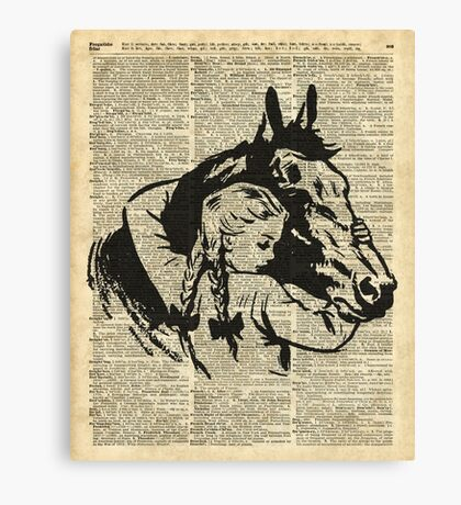 Girl With Horse Illustration over vintage dictionary page Canvas Print