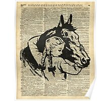Girl With Horse Illustration over vintage dictionary page Poster