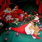 Christmas Season ~ Kitten w/ Paws Up Playing with Santa Claus' Hat ~ Kitty Cat in Xmas Decorations w/ Red Holiday Bows by Chantal PhotoPix