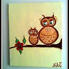 Mother & Baby Owl in Yellow. by NikiJ