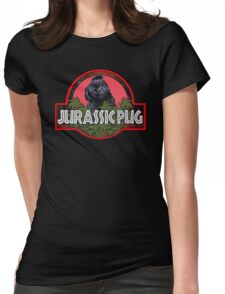 Jurassic Pug Funny Womens Fitted T-Shirt
