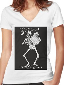 Day of the Dead Skeleton with Accordion Women's Fitted V-Neck T-Shirt